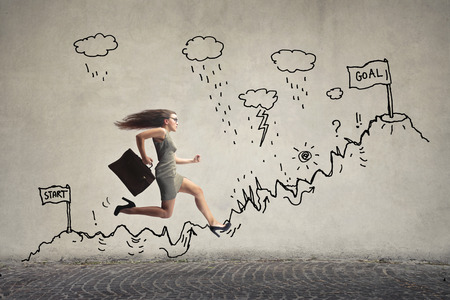 Photo for girl is running with a briefcase - Royalty Free Image