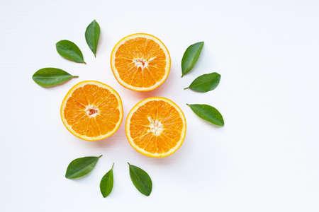 Photo pour Fresh orange citrus fruit isolated on white background.  Top view - image libre de droit