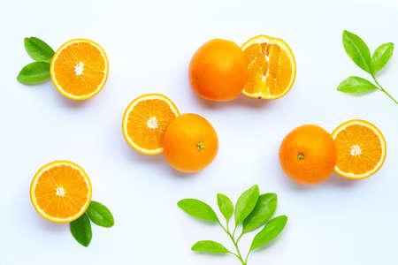Photo for High vitamin C, Juicy and sweet. Fresh orange fruit on white background. - Royalty Free Image