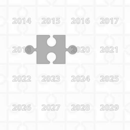 Puzzle year change calendar background. New year 2019 concept. Vector illustration