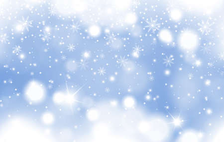Illustration for Winter blue glowing background of falling snow with clouds and snowflakes. Christmas and New Year card design. Vector illustration - Royalty Free Image