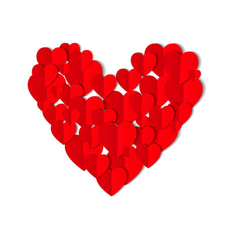 Illustration for Red origami paper hearts isolated on white background. Valentines day concept. Love, feelings, tenderness design. Vector illustration - Royalty Free Image