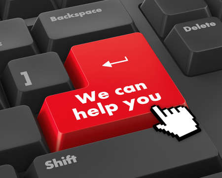 Foto de we can help you written on computer button - Imagen libre de derechos
