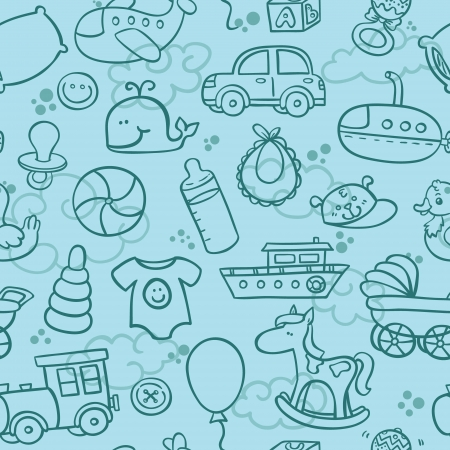 outline seamless pattern for boy