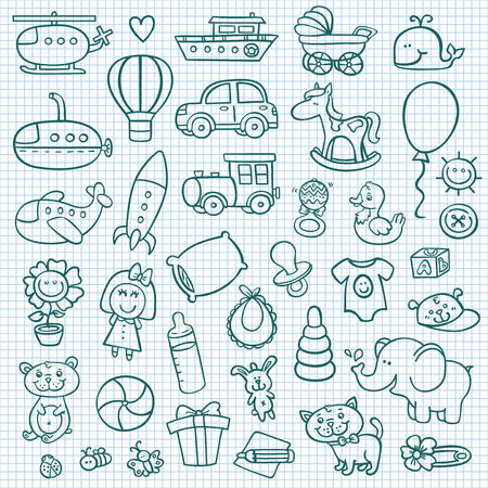 funny baby icons.  doodle collection of hand drawn icons for baby showerのイラスト素材