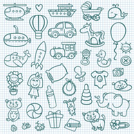 Foto de funny baby icons.  doodle collection of hand drawn icons for baby shower - Imagen libre de derechos
