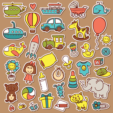 funny baby toys stickers set. vector doodle collection of hand drawn icons for baby shower or scrapbook