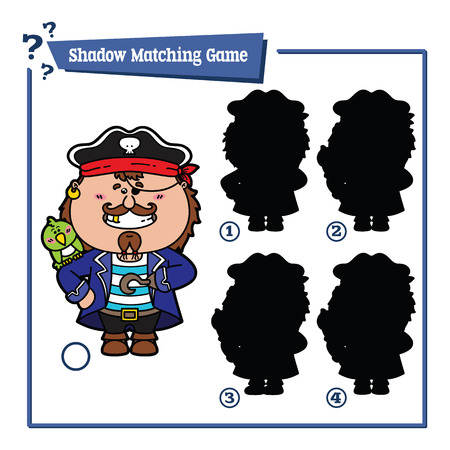 funny shadow pirate game. Vector illustration of shadow matching game with happy cartoon pirate for children