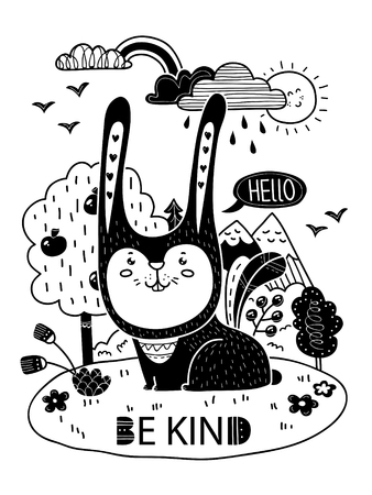 Vector poster with bunny and lettering Be kind in scandinavian style