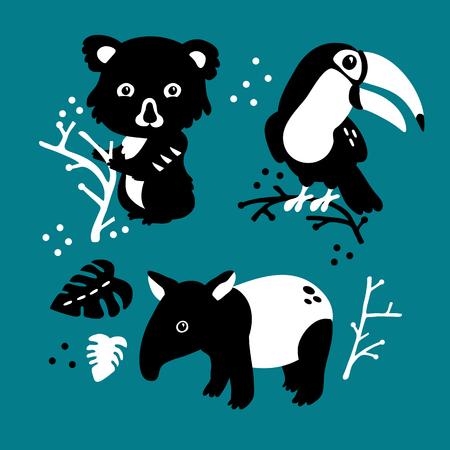 Illustration pour Vector illustration of cute funny baby rainforest animals set for print, poster, scandinavian design - image libre de droit