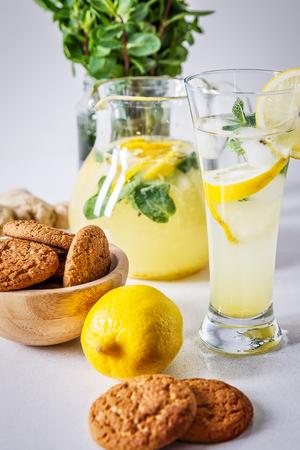 close up of glass of homemade lemonade