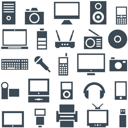 Icon set of gadgets, computer equipment and electronics