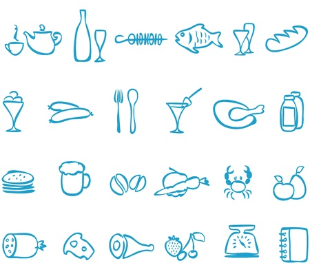 Illustration pour Set  handwork icons food   , that can be scaled to any size without loss of quality  - image libre de droit