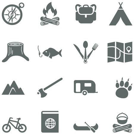 Set of vector icons for tourism, travel and camping. All elements are on separate layers. Possible to easily change the colors and size without losing image quality.