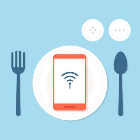 internet addiction concept, vector