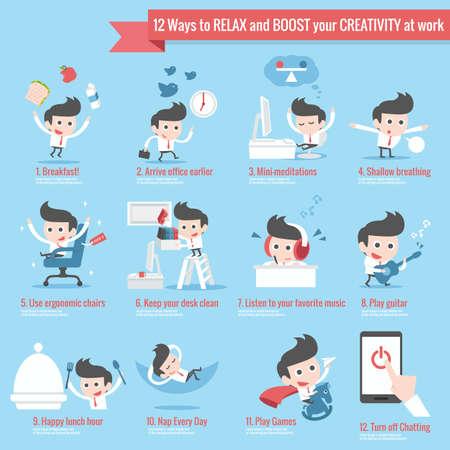 12 ways to relax infographics cartoon