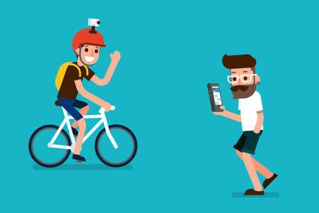 Sportman and smartphone user flatdesign cartoon.