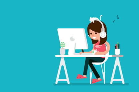 Happy woman working on computer, flat design cartoon.