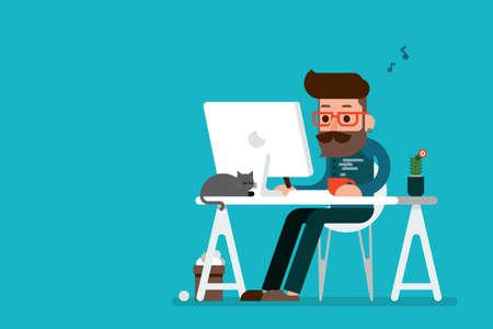 Ilustración de Happy man working on computer cartoon. - Imagen libre de derechos