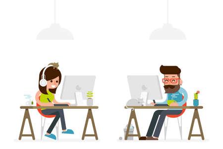 Ilustración de man and woman working on computer flat style cartoon. - Imagen libre de derechos