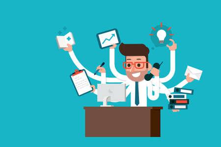 Illustration pour Businessman with multi tasking skills, flat style. - image libre de droit