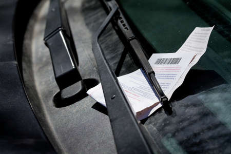 Parking ticket on windshield