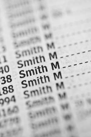 Smith name in phone book