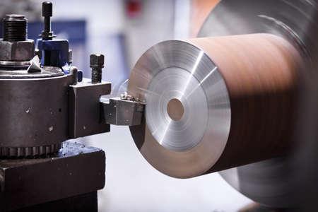 Lathe cutting metal