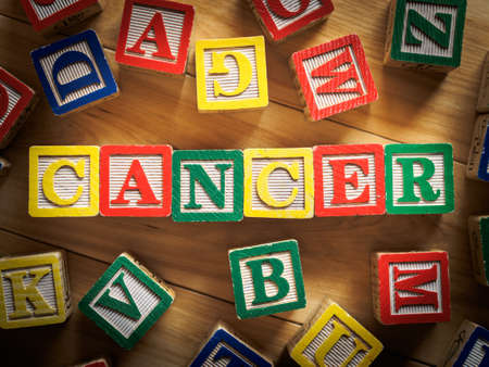 Cancer word on wooden blocks