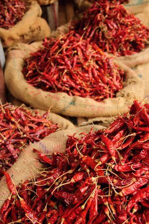 Bags of Dried Chillis.  Kollam, Kerala, India