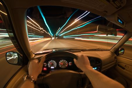 Drivers view of driving at night.