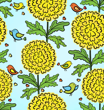 Colorful funny seamless pattern with flowers and birds