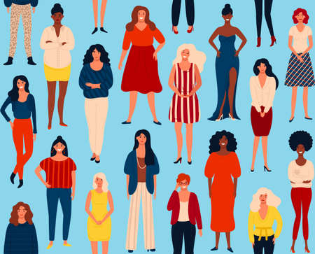 Illustration pour Seamless vector pattern with diverse international group of standing happy women or girls. Vector illustration for girls power concept, feminine and feminism ideas. EPS 8. - image libre de droit