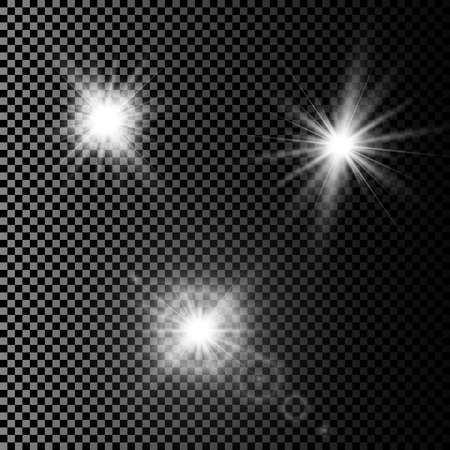 Illustration pour Set of glowing light effects with transparency isolated on plaid vector background. Lens flares, rays, stars and sparkles with bokeh collection. - image libre de droit