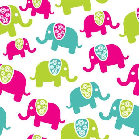 Illustration pour Seamless retro elephant pattern - image libre de droit