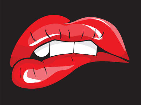 Illustration pour Biting her red lips teeth - image libre de droit