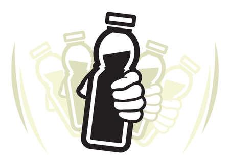 Vektor für Shake bottle of yogurt before use - Lizenzfreies Bild