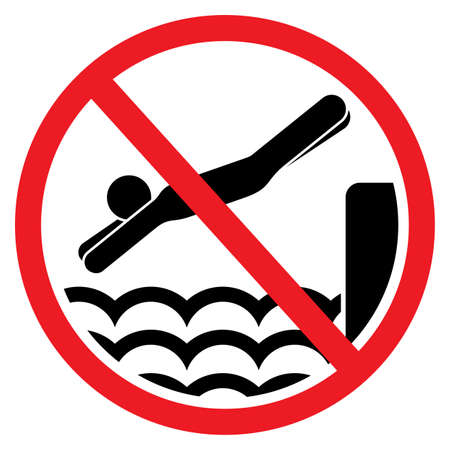 No diving and jumping sign