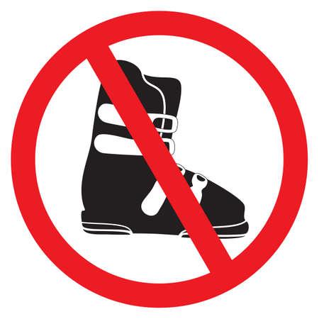 No ski boot sign