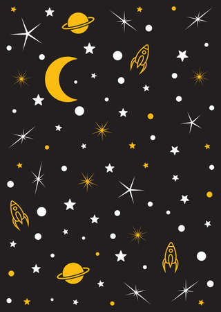 Moon, stars, planets, space vector background
