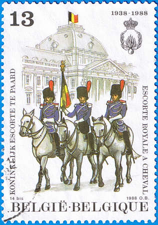 BELGIUM - CIRCA 1988: A stamp printed in Belgium shows Royal Mounted Guard, circa 1988