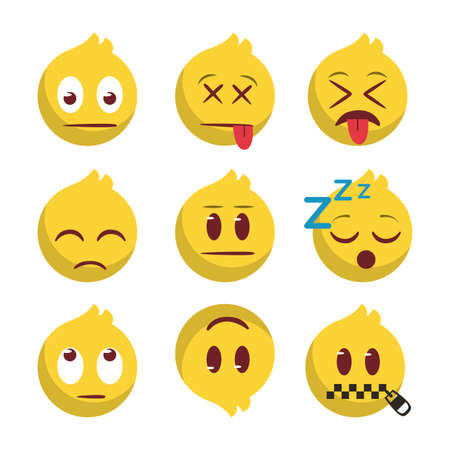Ilustración de Emoji back ground illustration, avatar login icon set - Imagen libre de derechos