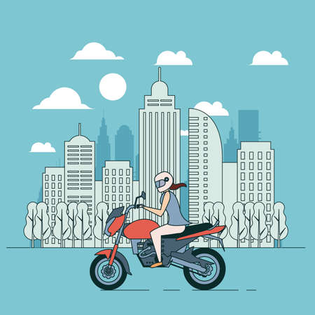 Ilustración de Blue banner, vcity lifestyle, adventure woman on motorbike, flat illustration - Imagen libre de derechos