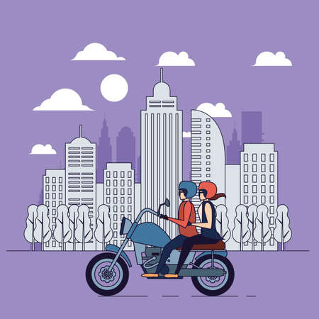 Ilustración de Bikers couple, city banner, line illustration, people lifestyle - Imagen libre de derechos