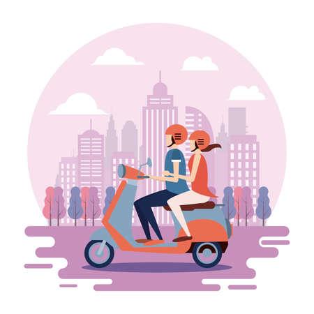 Ilustración de Banner, peolple on motorbike, lifestyle people - Imagen libre de derechos