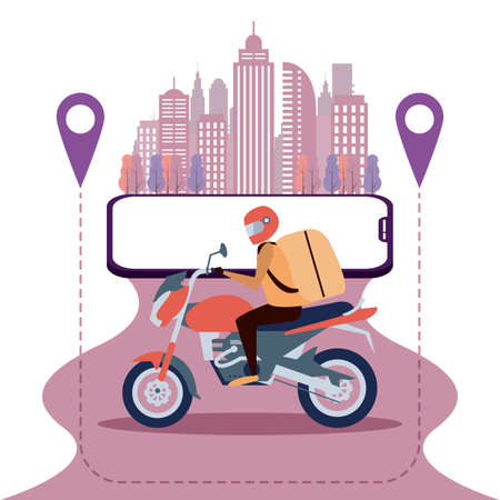 Ilustración de Motorbike delivery, app city banne, delivery app banner and background - Imagen libre de derechos
