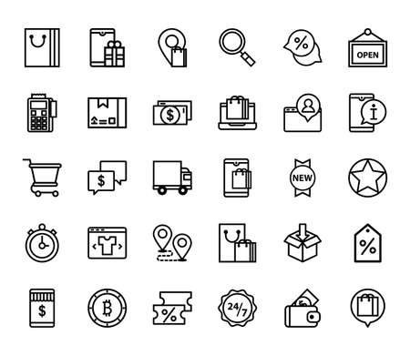 Ilustración de set of 30 icon e commerce, shopping onlie - Imagen libre de derechos