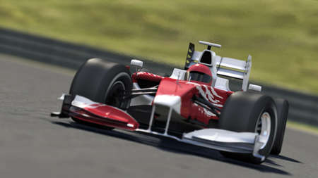 Photo pour formula one race car on track - high quality 3d rendering - my own car design - image libre de droit