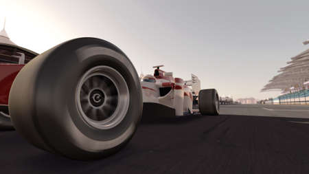 high quality 3d rendering of a formula race car on track