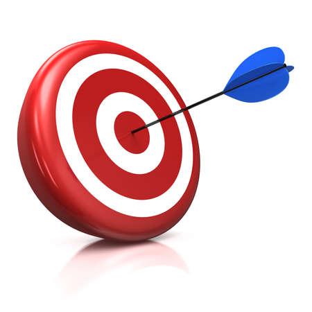 Photo pour 3d illustration/render of a target with a blue arrow stuck right in the center - image libre de droit